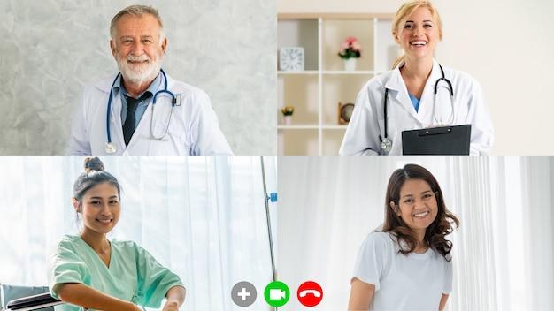 Arzt und patient sprechen über videoanruf
