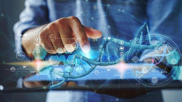 Arztcheck mit analyse der chromosomen-dna-genetik des menschen auf der virtuellen schnittstelle. medizinisches wissenschaftskonzept, 3d-darstellung