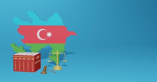 Aserbaidschanisches gesetz für infografiken, social media-inhalte in 3d-rendering