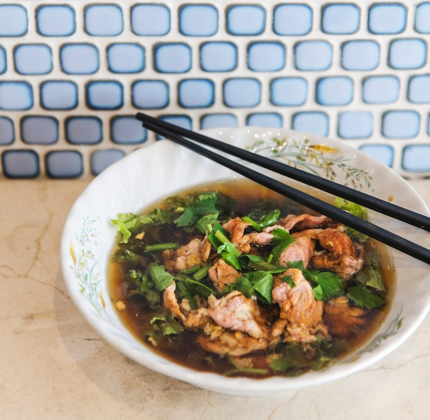Asian essen gericht bohnenkraut menü geschmack