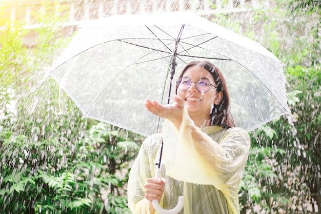 Asiatin mit regenschirm überprüfend auf regen.