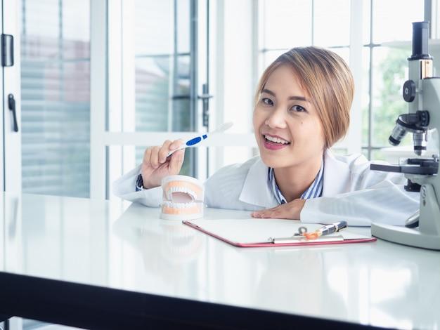 Asiatinzahnarzt, der auf einem kiefermodell darstellt, wie man die zähne mit zahnbürste säubert