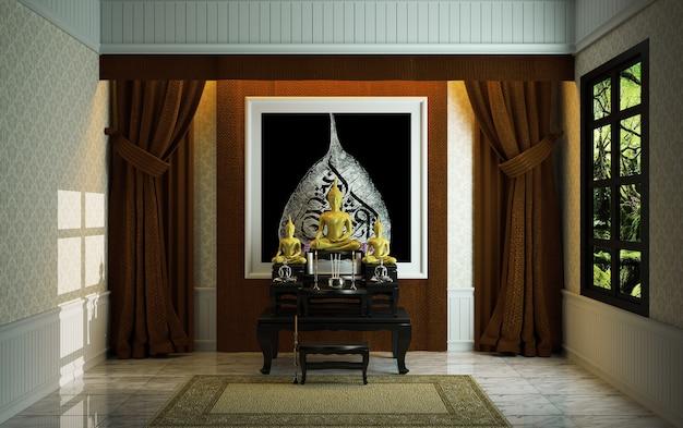 Asiatische art des tabernacle-religionraumes. 3d-rendering