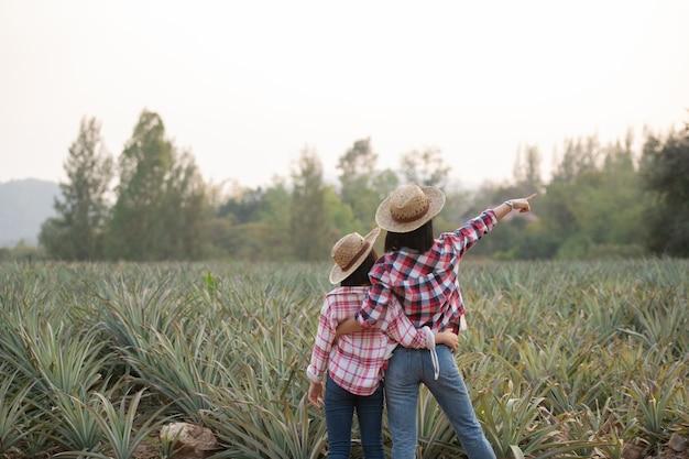 Asiatische bäuerin sehen wachstum der ananas in der farm, agrarindustrie-konzept.