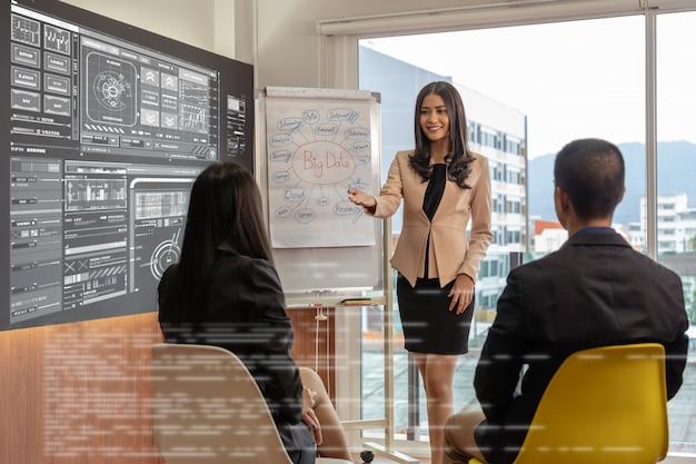 Asiatische busienfrau, welche die großen daten und den digitalen virtuellen schirm über dem diagramm darstellt
