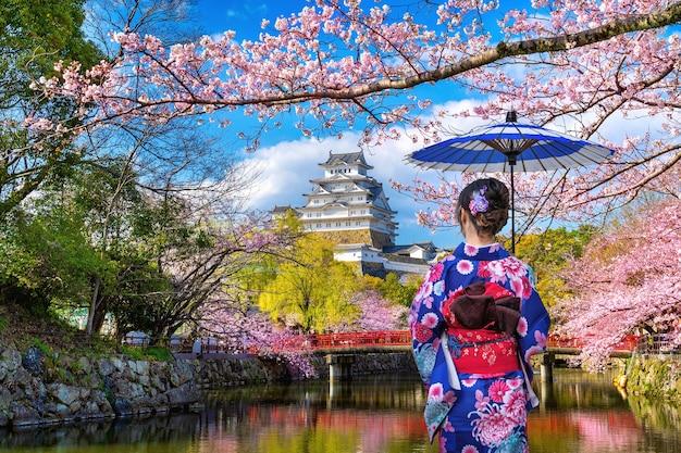 Asiatische frau, die traditionellen japanischen kimono trägt, der kirschblüten und schloss in himeji, japan betrachtet.