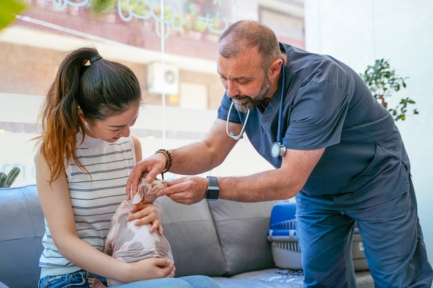 Asiatische frau mit exotischer sphynxkatze bei der veterinärjahresuntersuchung.
