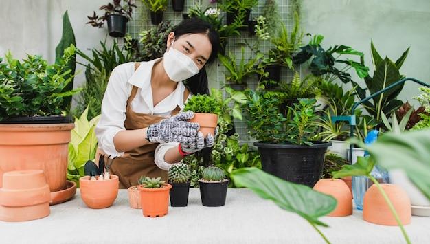 Asiatische gärtnerin mit gesichtsmaske und schürze, die grüne zimmerpflanze in der hand hält, während sie auf zimmerpflanzen aufpasst