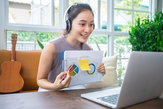 Asiatische geschäftsfrauen verwenden notebooks und tragen kopfhörer für online-meetings und die arbeit von zu hause aus.