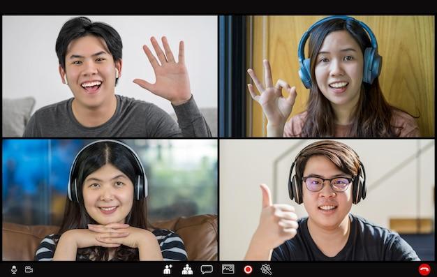 Asiatische geschäftsleute treffen und stimmen mit teamwork-kollegen in videoanrufkonferenzen ab
