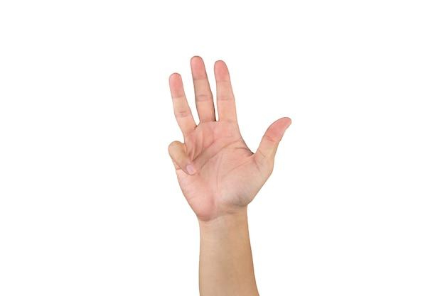 Asiatische hand zeigt und zählt 9 finger auf isoliertem weißem hintergrund mit beschneidungspfad