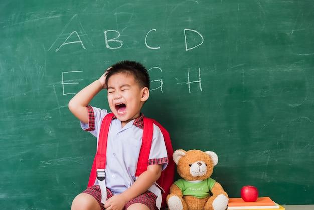 Asiatische kindergartenvorschule in der schüleruniform mit schultaschenbuch sitzen mit einem teddybär auf grüner schultafel