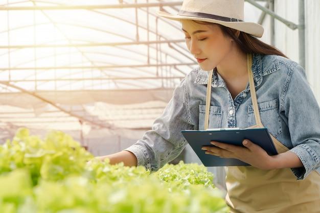 Asiatische landwirtfrau, die klemmbrett und salat des rohen gemüses für kontrollqualität im wasserkulturbauernhofsystem im gewächshaus hält.