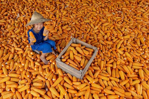 Asiatische mädchen halten mais unter mais für lebensmittel.