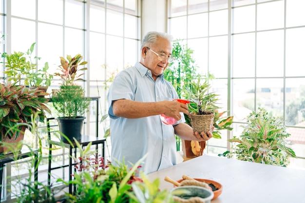 Asiatische männliche senioren im ruhestand lieben es, sich um die pflanzen zu kümmern, indem sie pflanzen mit nebel im innengarten mit wasser besprühen. genießen sie ruhestandsaktivitäten.