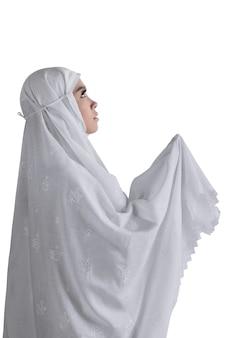 Asiatische moslemische frau der seite der ansicht