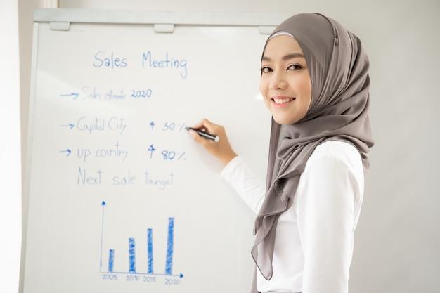Asiatische muslimische frau, die einen verkaufsbericht auf weißer tafel zeigt