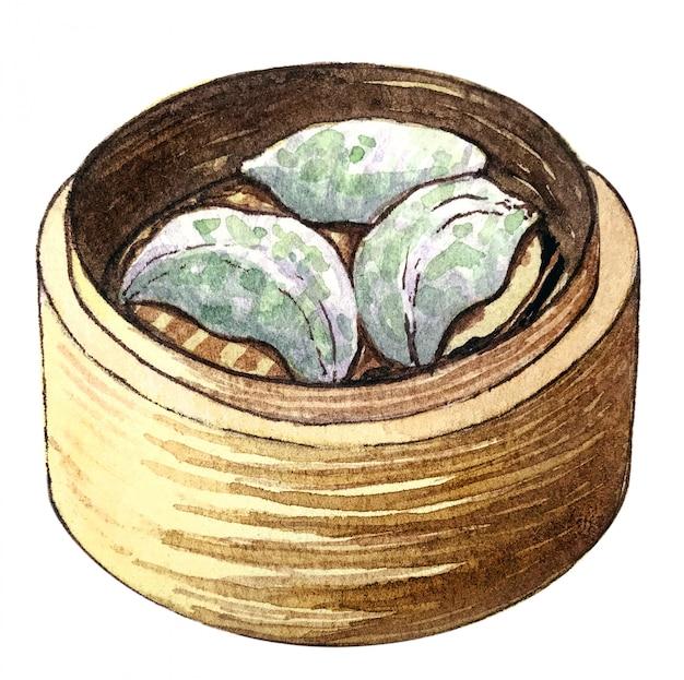 Asiatische nahrung des sumpfes des aquarells schnittlauch und garnelen-mehlkloß