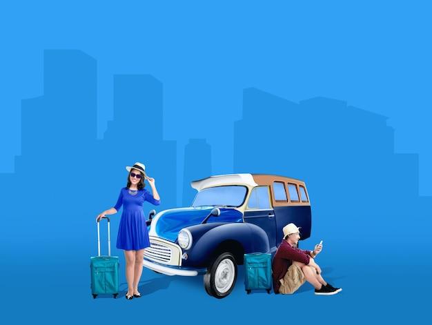 Asiatische paare im hut mit der koffertasche, die neben dem auto sich entspannt
