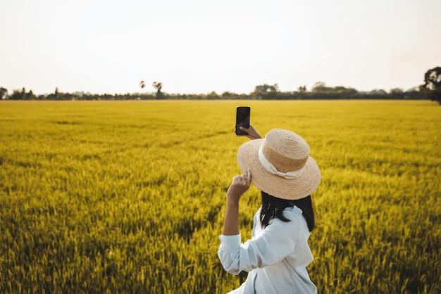 Asiatische reisende, die handy auf reisfeld in der farm am nakhon nayok thailand verwendet