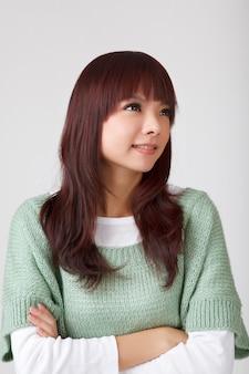 Asiatische schönheit, nahaufnahmeporträt im studio.
