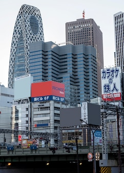 Asiatische stadtlandschaft mit sehenswürdigkeiten