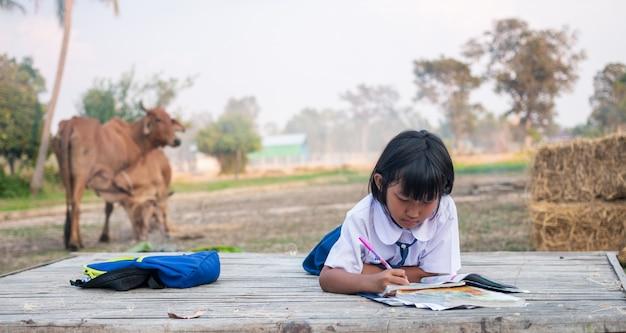 Asiatische studentin auf dem lande