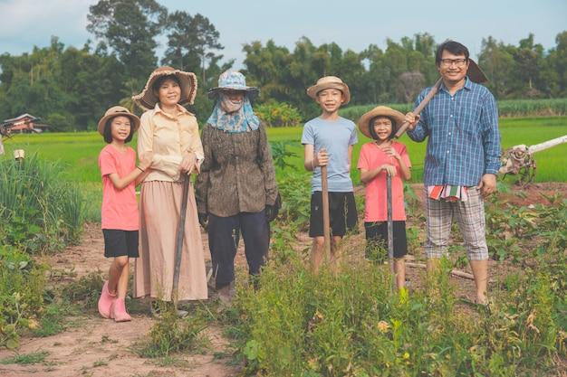 Asiatischer familiengärtner auf dem land der biologischen landwirtschaft