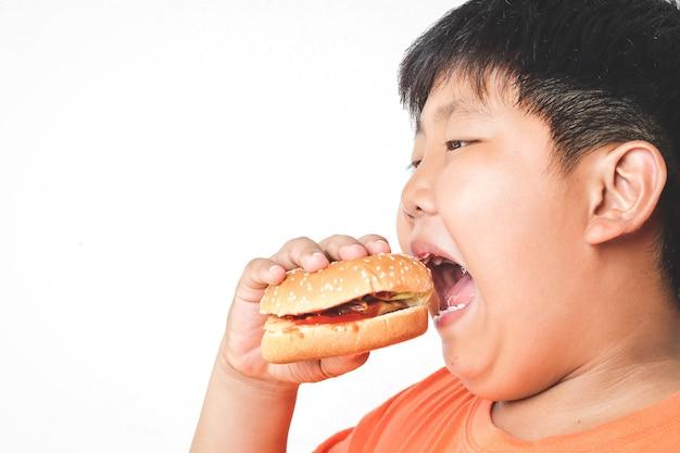 Asiatischer fetter junge isst hamburger. lebensmittelkonzepte, die körperliche gesundheitsprobleme bei kindern verursachen verursacht leichte krankheiten wie fettleibigkeit. weißer hintergrund. isoliert. speicherplatz kopieren