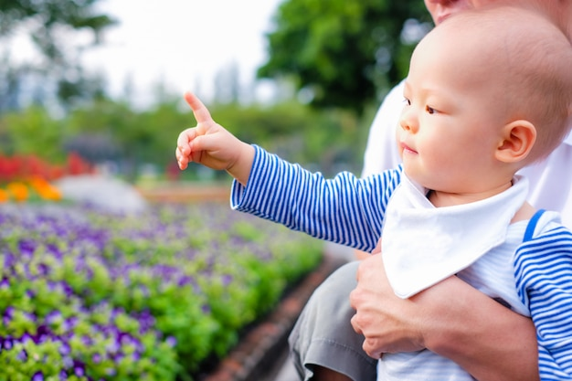 Asiatischer kleiner kleinkindjunge betrachtet und zeigt finger auf park im frühjahr. bringen sie das halten seines babysohns hervor, der das besichtigen des schönen blumengartens genießt