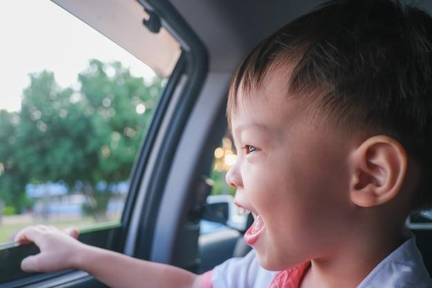 Asiatischer kleiner kleinkindjunge im auto und beobachten der natur vom offenen fenster
