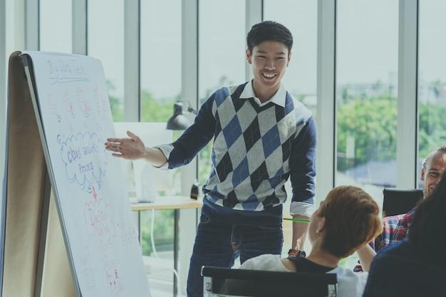Asiatischer kreativer managermann, der die erfolgreichen ideen darstellt