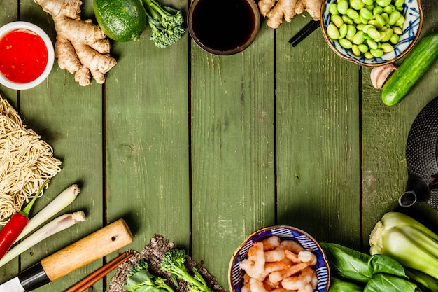 Asiatischer lebensmittelhintergrund