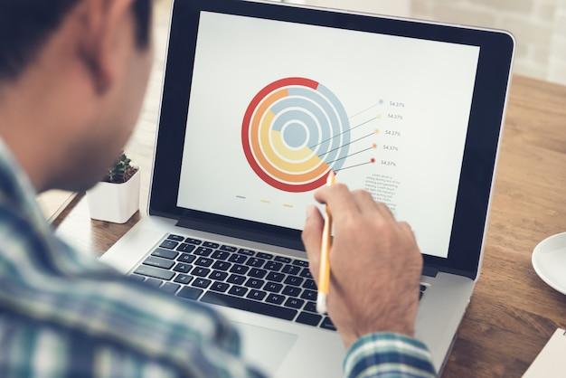 Asiatischer mann analysiert und arbeitet mit finanzgeschäftsdiagramm auf laptop-computer zu hause