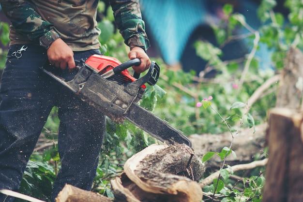 Asiatischer mann, der bäume unter verwendung einer elektrischen kettensäge schneidet
