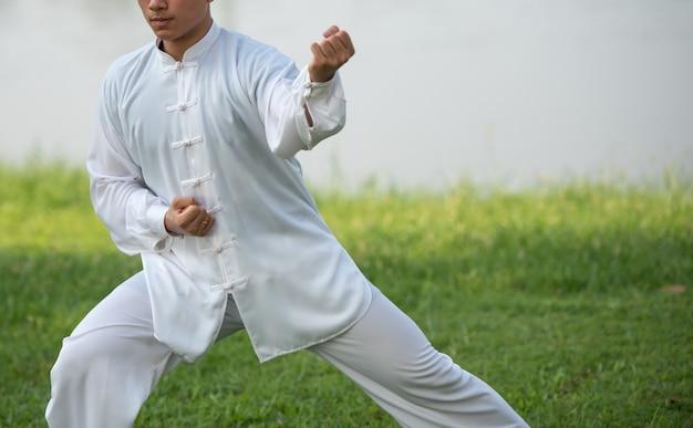 Asiatischer mann, der morgens mit tai chi am park ausarbeitet