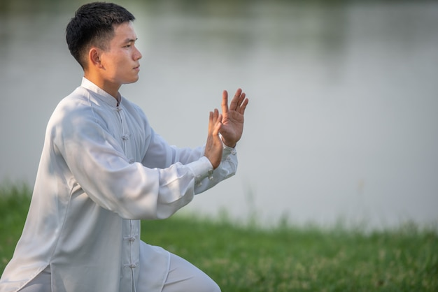 Asiatischer mann, der morgens mit tai chi am park, chinesische kampfkünste, gesunde sorgfalt für lebenkonzept ausarbeitet.