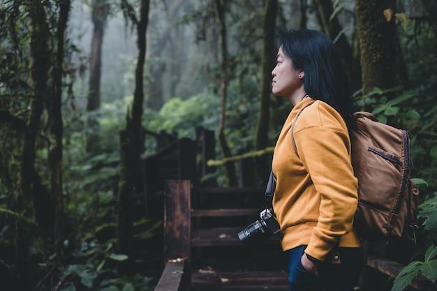 Asiatischer wanderer, der ansicht in regenwaldnussuralspur betrachtet