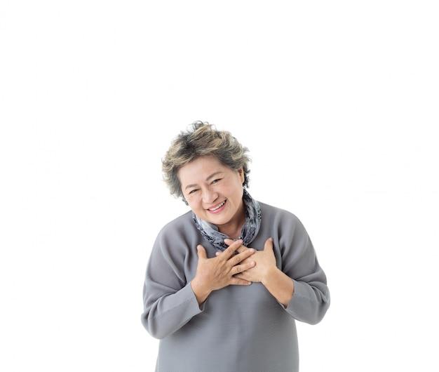 Asiatisches älteres frauengefühl glücklich lokalisiert