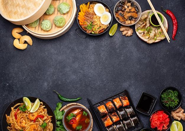 Asiatisches essen. chinesische, japanische und thailändische küche