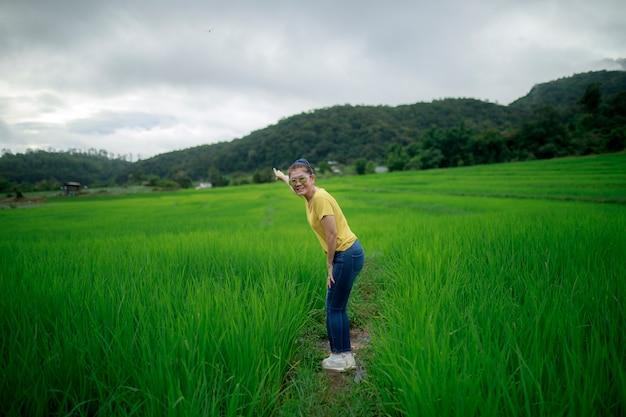 Asina frau, die mit dem entspannen im grünen reisfeld steht
