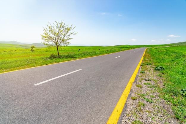 Asphaltstraße zwischen grünen feldern mit blauem himmel und wolken