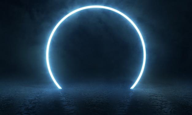Asphaltstraßenoberfläche mit leuchtendem led-ring und nebligem nebel.