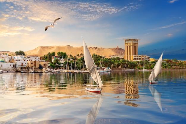 Assuan-flusslandschaft, schöne nilansicht, ägypten.
