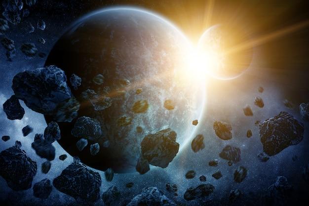 Asteroiden über dem planeten erde