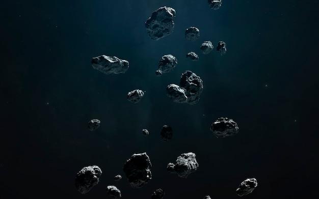Asteroidengürtel, fantastische science-fiction-tapete, kosmische landschaft. elemente dieses bildes von der nasa geliefert