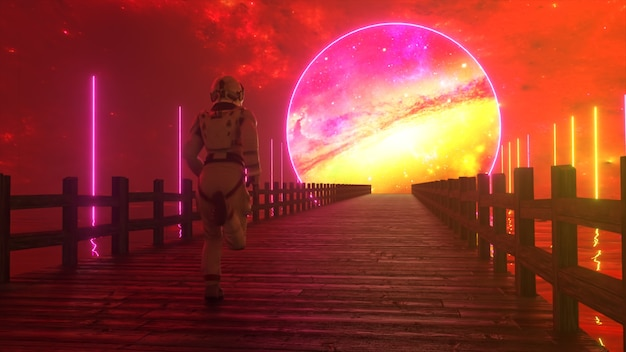 Astranaut läuft entlang der endlosen holzbrücke