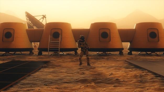 Astronaut auf dem planeten mars tanzt an seiner basis.