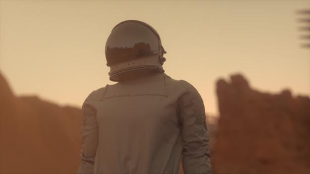 Astronaut auf der marsoberfläche