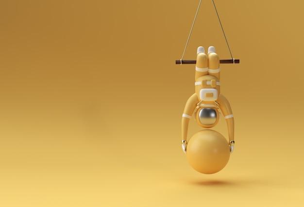Astronaut hängt am seil mit stabilitätsball und macht übungen, 3d-rendering-illustration..